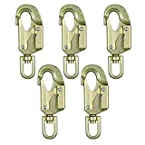 Fusion Climb Sector Carbon Steel Drop Forged Double Locking Swivel High Strength Gate Snap Hook Carabiner Gold 5-Pack
