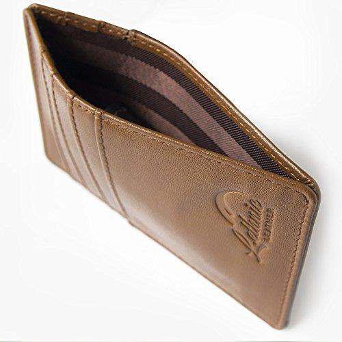 Lethnic Men's Minimalist RFID Front Pocket Slim Wallet - Business Card Holder Wallet - Safe Wallet For Travel - Best gift for Men - Genuine Leather (Dark Brown) Photo #3