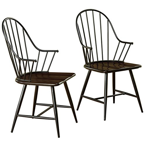 Target Marketing Systems Windsor Set of 2 Mixed Media Spindle Back Arm Chairs with Saddle Seat, Set of 2, Black/Espresso Windsor Dining Room Set