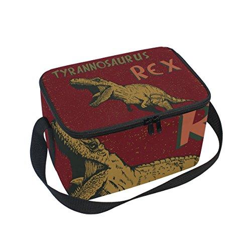 Tyrannosaurus Rex Dinosaur Pattern Print Insulated Lunch Bag Box Cooler Bag Reusable Tote Bag Outdoor Travel Picnic Bags ()