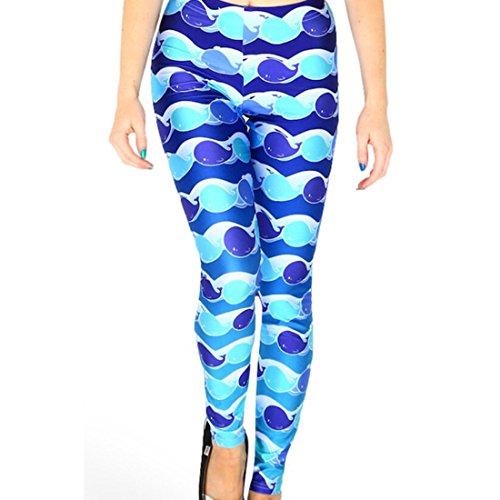 Women's 3D Little Blue Whale Printed Punk Rock Full Length Leggings Blue