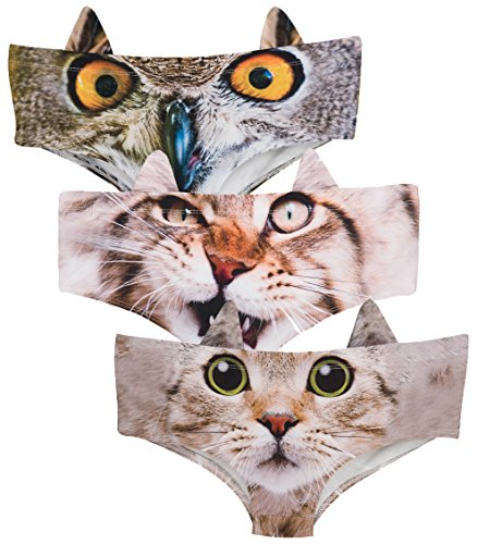 Ababalaya Womens' 3D Animal Print Cute Briefs with Ears,Cute Kitty+Owl+Wild Cat,M