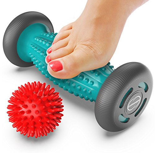 Foot Massager Roller + Ball for plantar fasciitis – Total Relief for Heel Spurs & Foot Arch Pain – Acupressure Reflexology Tool for Relaxation & Stress Relief – Trigger Point Healing with Spiky Ball
