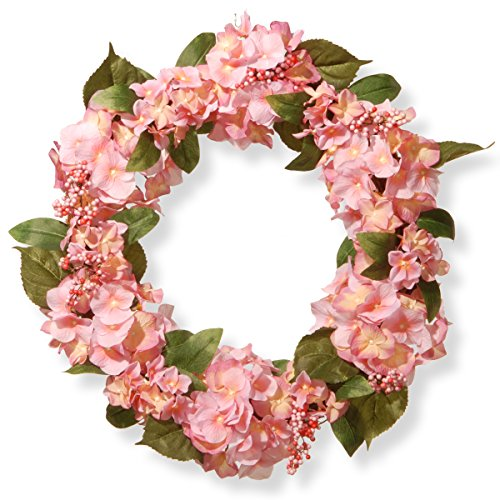 National Tree 24 Inch Floral Wreath with Pink Hydrangeas and Berries (RAS-SN191416-P1)