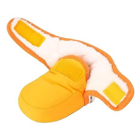 Lacofia Botas antideslizantes con suela blanda para bebé recién nacidos zapatos de invierno cálido amarillo 0-6 meses