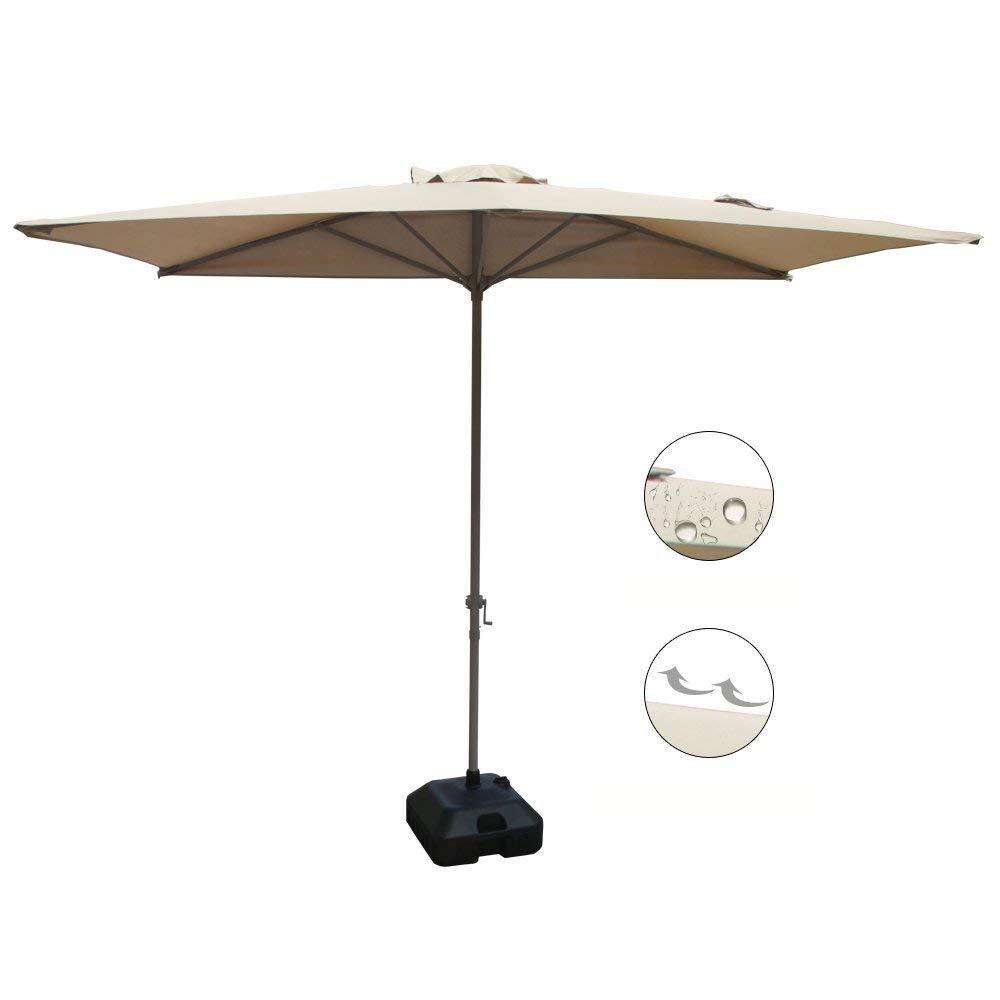 COBANA Half 7.5'by 4' Rectangular Outdoor Umbrella for Patio,Balcony,Garden,Deck, Beige