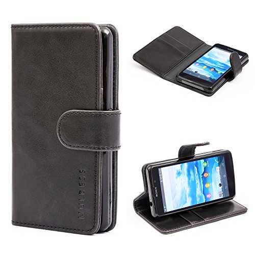 Sony Xperia Z1 Compact Case,Mulbess Leather Case, Flip Folio Book Case, Money Pouch Wallet Cover with Kick Stand for Sony Xperia Z1 Compact,Black