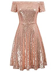 Women's Sequin Off Shoulder A-Line Dress