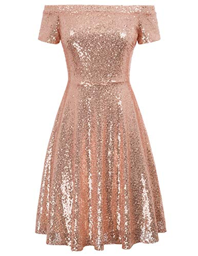 GRACE KARIN Women's Off Shoulder Sequined Evening Party Dress for Prom Size L,Rose ()