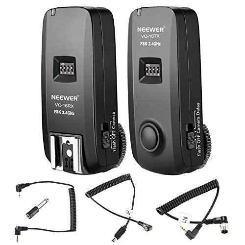 Neewer 3-in-1 16 Channels 2.4G Wireless Remote Flash Trigger with N1 and N3 Shutter Cables for Nikon DSLR Cameras Such as D7100, D7000,D800,D700,D600,D90,Speedlite Flash,VISION4 Studio Strobe (VC-16) by Neewer
