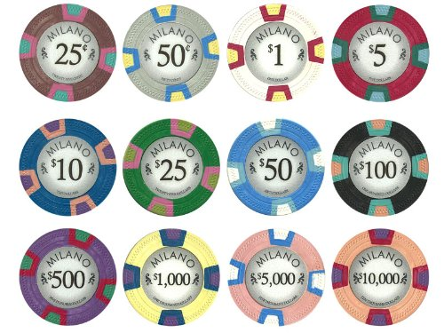 (Claysmith Gaming 10-Gram Premium Milano Clay Poker Chips - 12 Chip Sample Set)