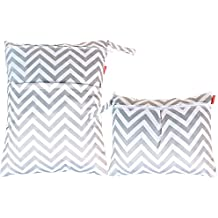 Damero 2pcs Travel Wet and Dry Cloth Diaper Bag Organizer with Handle for Cloth Diaper, Pumping Parts, Swimsuit and More, Easy to Grab and Go, Gray Chevron