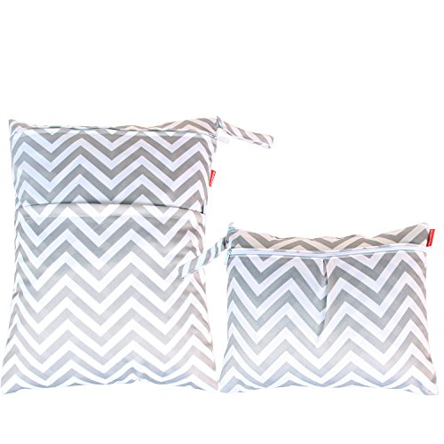 Damero 2pcs Travel Wet and Dry Cloth Diaper Bag Organizer with Handle for Cloth Diaper, Pumping Parts, Swimsuit and More, Easy to Grab and Go, Gray Chevron Diaper Pouch