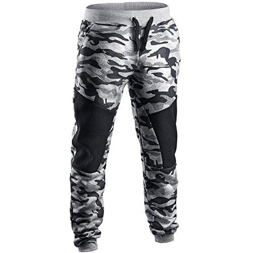 Accessories Designer Belts - Suzul_Men's Fashion Serzul Hot Sale Men Spring Casual Patchwork Camouflage Pants Sweatpants Clearance (Gray, M)