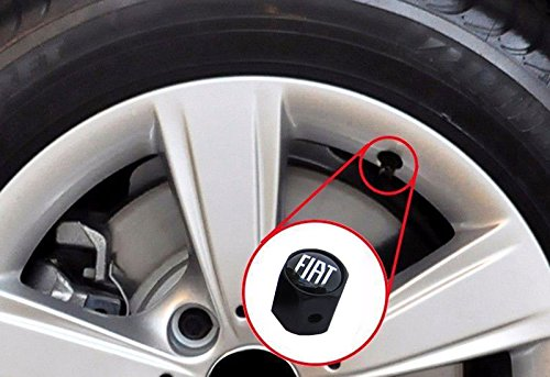 CHAMPLED NEW (4PC) FIAT LOGO METAL BLACK WHEEL TIRE AIR VALVE STEM CAPS DUST COVER by Champled (Image #3)