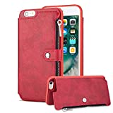 Aearl iPhone 6 Zipper Wallet Case,iPhone 6S Leather Case with Card Holder,Apple iPhone 6S 6 Flip Folio Credit Card Slot Money Pocket Magnetic Detachable Buckle Wallet Phone Case for Women Men-Red