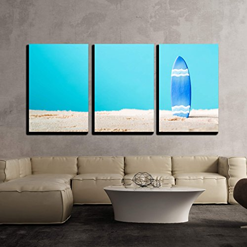 Summer Theme with Surfboard on a Bright Blue Background x3 Panels