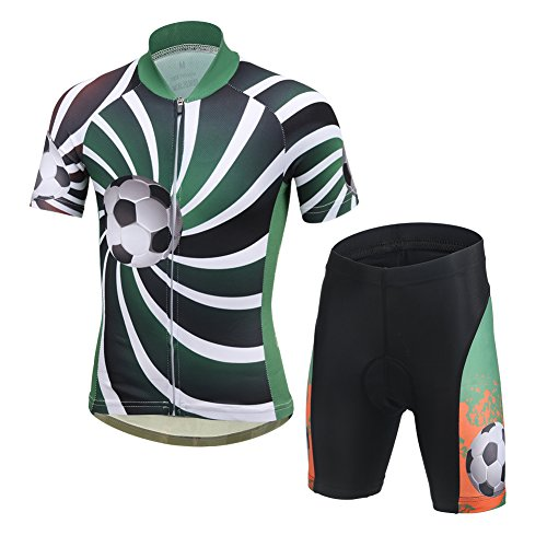 d7df43ac0 LSERVER Kids Girls Boys Short Sleeve Cycling Jersery with 3D Padded Bicycle  Bike Shorts Pants Green Football Set XL