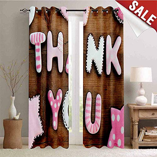 Hengshu Thank You Decor Curtains by Romantic Sweet Cookie Letters Sugar Candy on a Rustic Wood Table Image Room Darkening Wide Curtains W84 x L96 Inch Pink White Brown