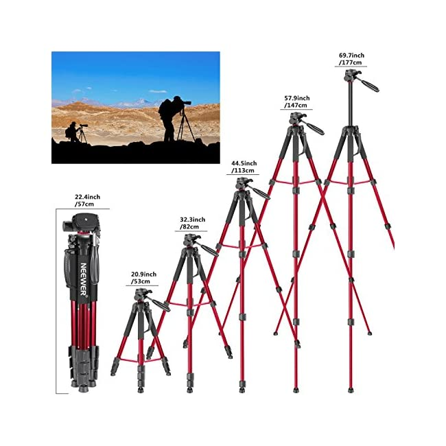 Neewer Portable 70 inches/177 centimeters Aluminum Alloy Camera Tripod Monopod with 3-Way Swivel Pan Head Bag for DSLR Camera DV Video Camcorder Load up to 8.8 pounds/4 kilograms Red(SAB264)