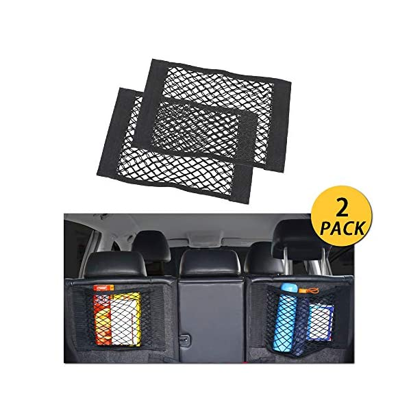NETUME Netztasche Auto Kofferraum Organizer Klett, 2 Stück Elastische Kofferraumtasche Netz Rücksitztasche Auto für…