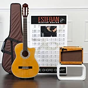 esteban granada acoustic electric classical guitar package w amp 10 dvds and. Black Bedroom Furniture Sets. Home Design Ideas