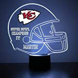Mirror Magic Store Kansas City Chiefs Football Helmet LED Night Light with Free Personalization - Night Lamp - Table Lamp - Featuring Licensed Decal