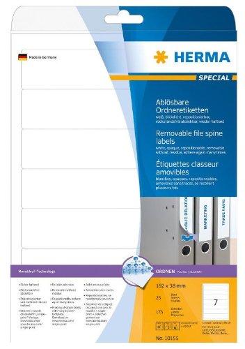 Herma 10155 Ordnerrücken ablösbar, schmal/kurz (192 x 38 mm) 175 Ordneretiketten, 25 Blatt DIN A4 Papier matt, weiß, bedruckbar, selbstklebend