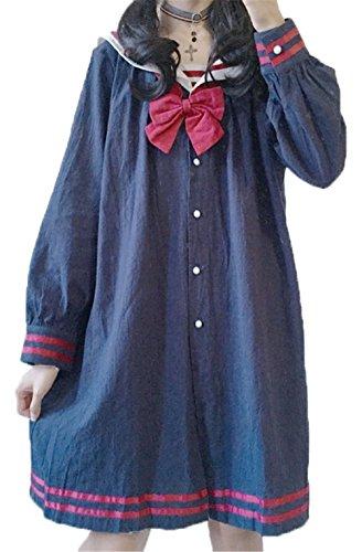 YINUO 森ガール系 レディース ガールズ ワンピース セーラー風 可愛い セーラー襟 原宿系 ゆったり 長袖 カジュアル シンプル