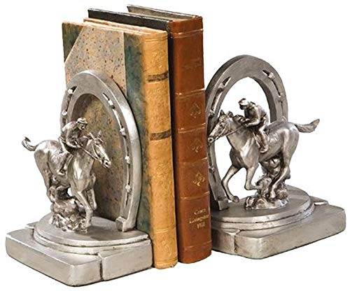 EuroLuxHome Bookends Bookend Horseshoe Racehorse Horse Photo Finish Cast Resin New H