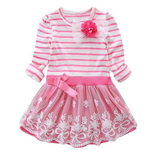 LittleSpring Little Girls' Dress Striped Flower Long Sleeve Size 4T Pink
