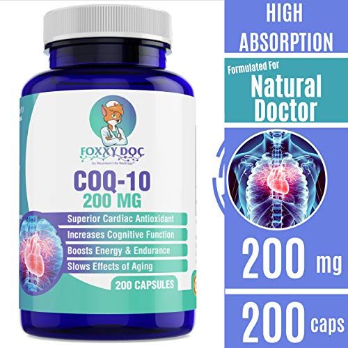 CoQ10 - Co-Enzyme Q10-200 mg - 200 Caps - High Absorption - Vegan - Non-GMO - 6.5 Month Supply Heart & Cellular Energy by Foxxy Doc