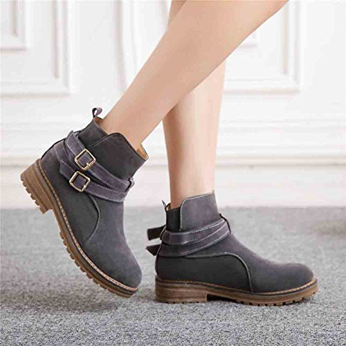 Easemax Womens Fashion Buckled Belt Round Toe Zipper Low Block Heel Ankle Boots Grey P4svgUZHUw