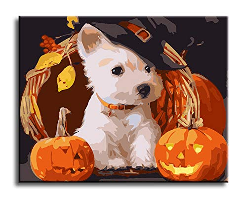 Shukqueen DIY Oil Painting, Adults Kids and Beginner's Paint by Number Kits, Acrylic Painting Halloween Dog 16X20 Inch (Frameless)]()