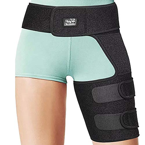 - Hip Groin Stabilizer & Hip Brace - Support Wrap for Sciatica Pain Relief, Hip Arthritis, Pulled Muscles, Thigh Hamstring Quadriceps Injuries, SI Belt Neoprene Adjustable Compression Brace Men Women