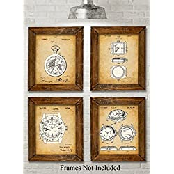Original Watches Patent Art Prints - Set of Four Photos (8x10) Unframed - Great Gift for Watch Collectors