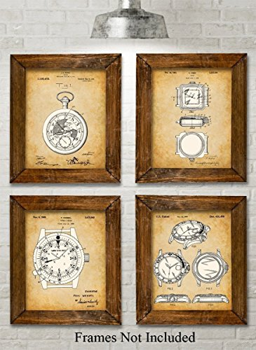 original-watches-patent-art-prints-set-of-four-photos-8x10-unframed-great-gift-for-watch-collectors