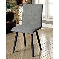 Furniture of America Bradensbrook Mid-Century Modern Style Grey Upholstered Side Chair (Set of 2)