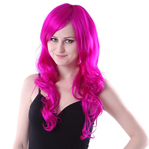 HDE Womens Long Wavy Wig Curly Glamour Hair Style for Halloween Cosplay Costumes (Magenta) (Grease Female Characters)