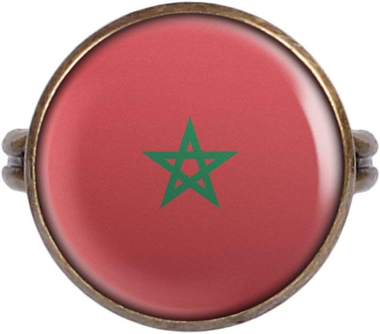 Anillo con Motivo Bandera de Marruecos Marruecos Rabat Bronce Diferentes tamaños