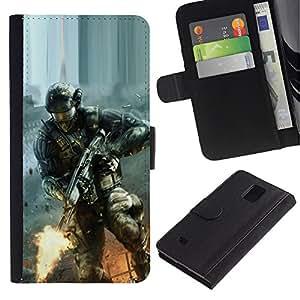 All Phone Most Case / Oferta Especial Cáscara Funda de cuero Monedero Cubierta de proteccion Caso / Wallet Case for Samsung Galaxy Note 4 IV // Soldier Game