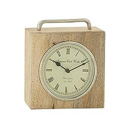 Deco 79 Splendid Wood Metal Table Clock