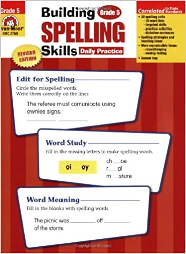 Workbook 4th grade spanish worksheets : Amazon.com: Building Spelling Skills: Grade 5 (9781557998439 ...