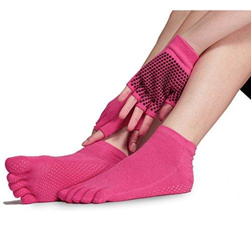 Yoga Socks and Gloves Set - Non Slip Grip Socks for Women Barre Pilates  Exercise - Buy Online in Oman.  f6fbb4b597
