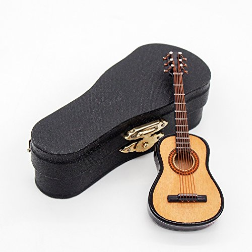Odoria 1:12 Wooden Acoustic Guitar with Stand and Case Musical Instrument Miniaure Dollhouse