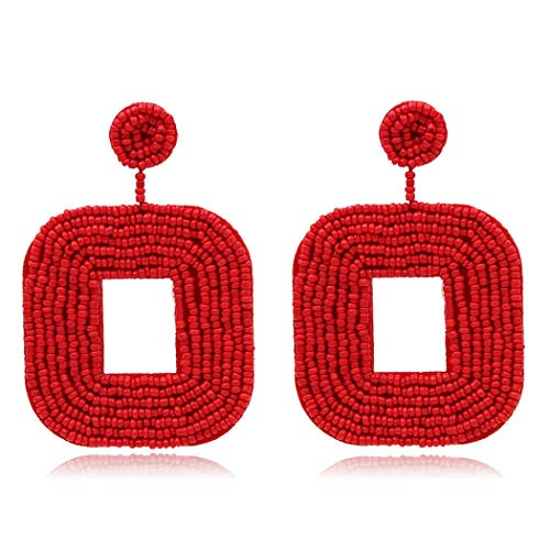 - Bohemian Handmade Wire Wrapped Beaded Square Hoop Dangle Statement Earrings for Women