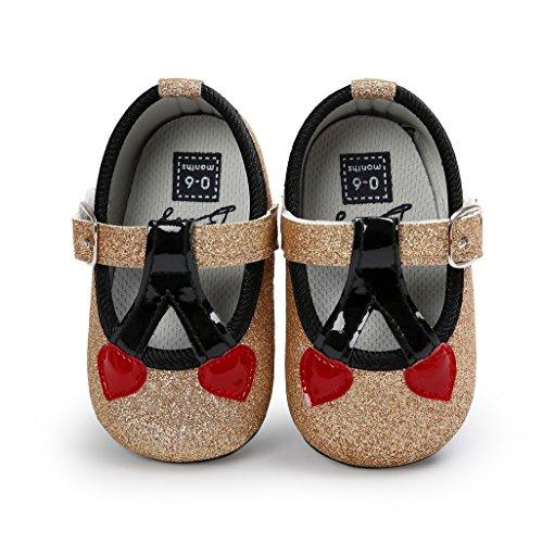 Auxma Zapatos de bebé, Bebé niña Cómoda AntiSlip Princesa Toddler Zapatos Or