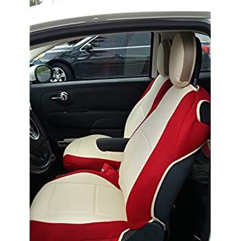 Mix Leatherette And Synthetic Two Front Custom Fit Car Seat Covers SUGAR RED SIDES Fits Fiat 500 2 Doors