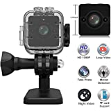Spy Camera Sport Video Camcorder Mini USB DVR Cam 1080P HD Night Vision Hidden Camera 155-degree Wide Angle Lens Surveillance Camera with Waterproof Case Camera Mount Motion Detection for Home Car