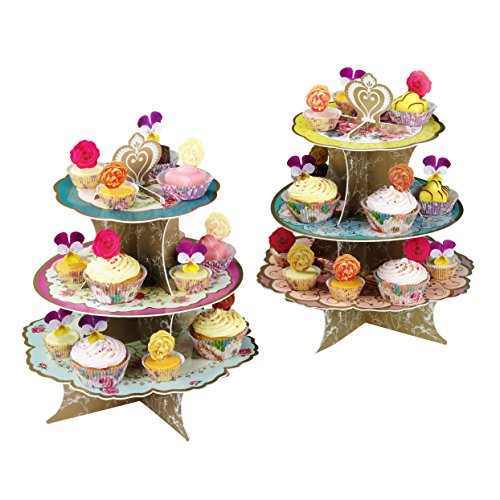 Talking Tables Truly Scrumptious Floral Cake Stand (3 Tier) for a Tea Party, Wedding or Birthday, Multicolor by Talking Tables (Image #1)